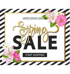 spring sale with beautiful flowers greeting card vector image
