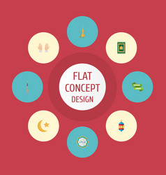 flat icons prayer carpet islamic lamp pitcher vector image vector image