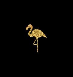 golden flamingo silhouette vector image vector image