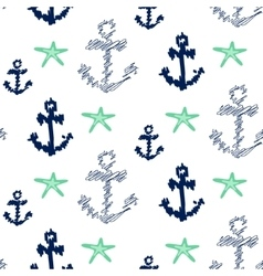 Nautical anchor seamless pattern on white vector image vector image