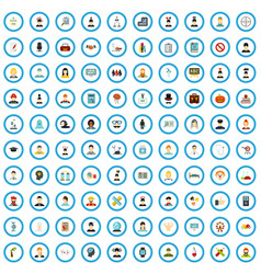 100 psychology training icons set flat style vector