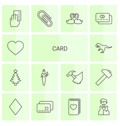 14 card icons vector image