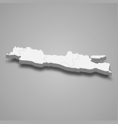 3d isometric map java is a island indonesia vector