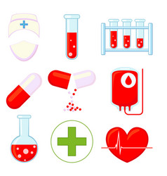 9 medical icon colorful cartoon set vector image
