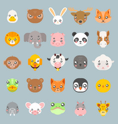 Animals cute bacartoon cubs flat design head vector