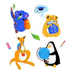 animals students - flat design style set vector image