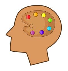 Art palette in human head icon cartoon style vector