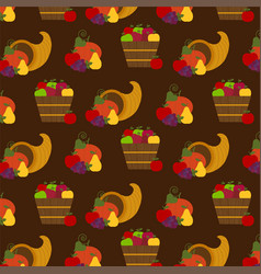 autumn fruit and cornucopia pattern vector image