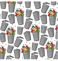 Background pattern with trash can vector