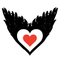Banner with abstract flying heart with black wings vector