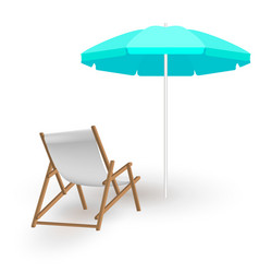 Beach umbrella with deck chairs vector