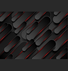 black and glowing red shapes abstract background vector image