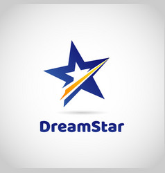 blue star with yellow dash sign symbol logo vector image