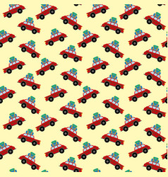 car with luggage pattern vector image