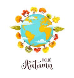 cartoon autumn trees vector image