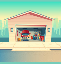 cartoon mechanic workshop with car garage vector image