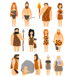 cartoon primitive people character set vector image