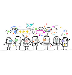 Cartoon social people with protection masks vector