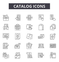 Catalog line icons signs set outline vector