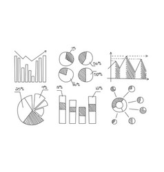 Charts diagrams graphs arrows monochrome hand vector