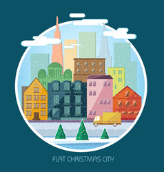 christmas round flat composition vector image