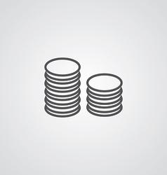 coins symbol outline symbol dark on white vector image