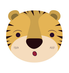 Colorful caricature cute face of tiger surprised vector