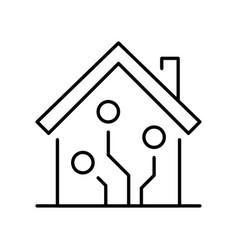 Contoured linear smart house icon vector