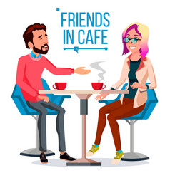 Couple in restaurant friends or boyfriend vector