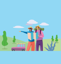 couple traveling following location vector image