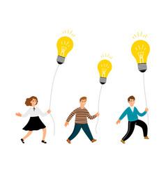 creative kids with lamp bulbs vector image
