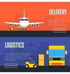 Delivery and logistics banner set vector image