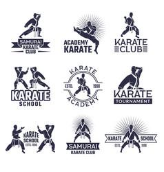 design martial sport labels set monochrome vector image