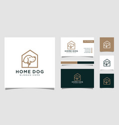 dog house logo with line style and business card vector image