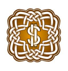 Dollar logo in celtic knots style stylish tattoo vector