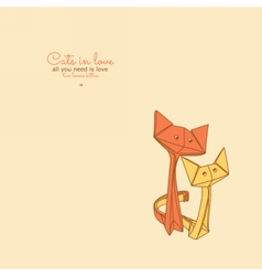 Drawing of cute origami cats in love vector image