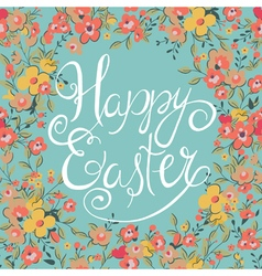 easter card with spring flowers vector image
