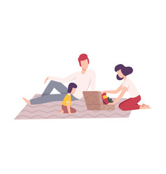 family having picnic in park father mother vector image