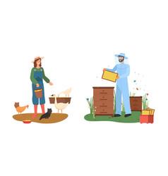 farmer and beekeeper country farmland farm vector image
