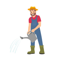 farmer with watering can working on farm cartoon vector image