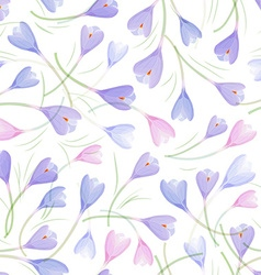 fashion seamless texture with crocuses vector image