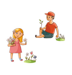 flat boy and girl collecting field flowers vector image
