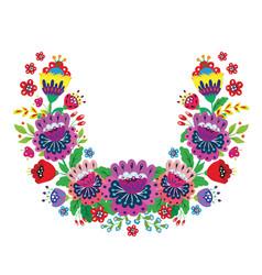 Flower wreath bright cartoon flowers vector