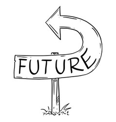 Future arrow sign bent backward showing wrong vector