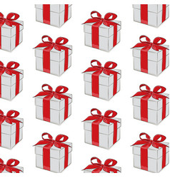 Gift pattern red ribbon with bow on grey vector