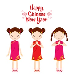 Girl In Cheongsam Set vector image