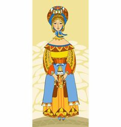 Girl in traditional clothes vector