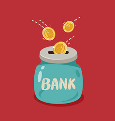 Glass jar and gold coins falling into it bank vector