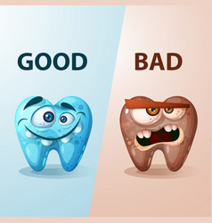 good and bad tooth vector image