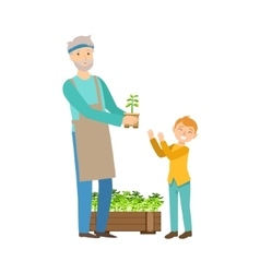 Grandfather And Grandson Gardening Part Of vector
